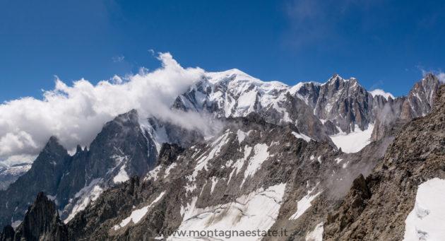 panorama monte bianco in estate visto dalla skyway